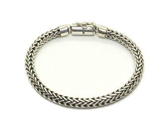 6mm Sterling Silver Chain Bracelet, Men's Sterling Silver Bracelet, Silver Bracelet Men, Bali Silver Bracelet. Men's Silver Bracelet
