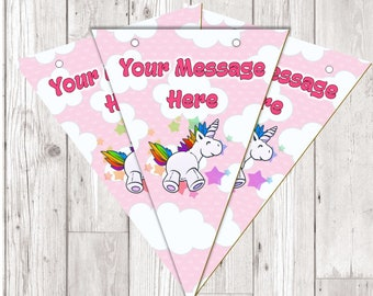 BP71 Unicorn personalised flag bunting x 10 flags with ribbon