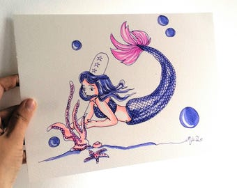 Watercolor mermaid art, watercolor, who love the ocean, sea, fantasy Mermaid, Mermaid, Mermaid girl room witch