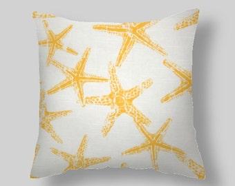 "Yellow Pillow Covers Accent Pillows throw Pillows Decorative Pillows Star fish 18 """