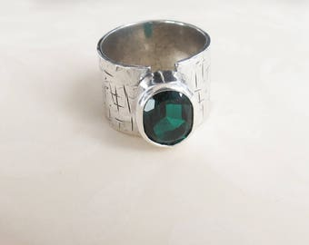 Emerald Ring, Sterling Silver Ring, Gemstone Ring, May Birthstone Ring, Anniversary Gift, Engagement Ring, Gift for Her, Wedding Ring