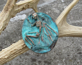 fairy skeleton brooch bronze and patina
