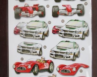 Cool race car 3-D die cut decoupage sheet.