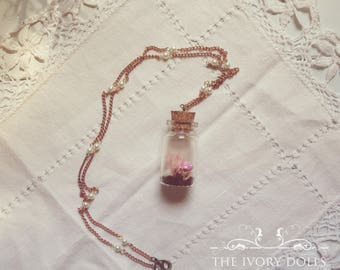 OOAK Faerytale Terrarium Necklace ~ Pink Toadstool, White Quartz Gemstone and Pink Moss ~ Vintage Pearl Chain ~ Handmade by The Ivory Dolls