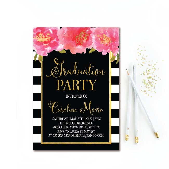 Graduation invitation class of traditional graduation invitations black white stripe graduation invitation floral graduation filmwisefo