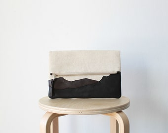 Fold over leather and canvas clutch brown Ready To Ship Genuine leather