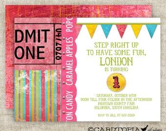 CARNIVAL CIRCUS Girl BIRTHDAY Party Invitation Digital Printable Cards 5x7 - 81438722