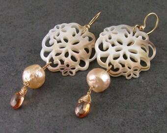 South sea shell flower earrings, handmade with kasumi like wrinkle pearls & mystic imperial topaz-OOAK