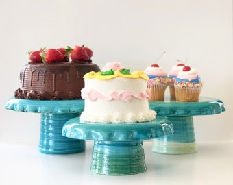 Ceramic Cake Stand in Green and Blue