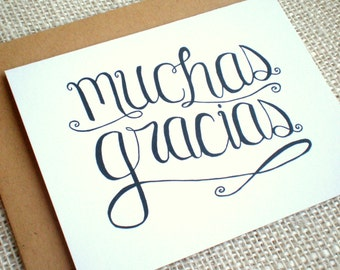 Set of 10 Thank You Cards  - Hand Lettered Muchas Gracias Spanish Thank You Card w/ Kraft or White Envelopes Wedding Engagement All Occasion