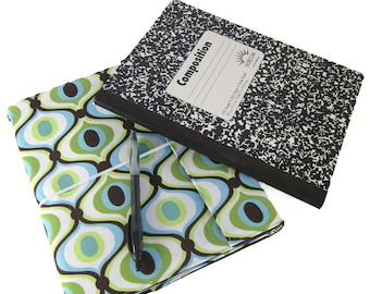 Composition Notebook - Feeling Groovy Reusable Fabric Covered Composition Book Cover - pen and composition notebook -notebook, journal,diary