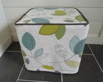 "Ready to Ship - Retro Leaves Ottoman Slipcover, Cube Slipcover, 15"" x 15"" x 14.5"", Grey, Blue, Green, White"