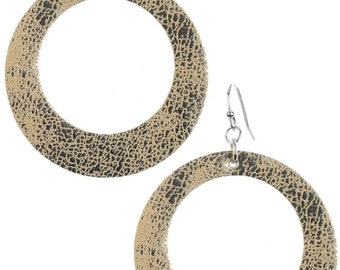 Leather Look Cutout Round Earrings - Silver/Gold