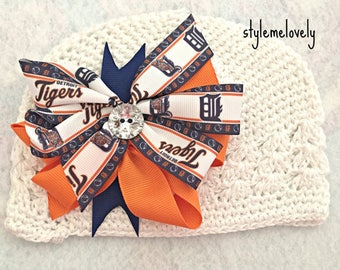 Detroit Tigers Baby Girl Boutique Bow Crocheted Hat