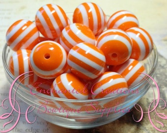 20mm Orange and White Striped Beads Qty 10