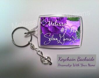 Selena Gomez Keychain, Personalized Keychain, Selena Gomez Keepsake, Selenators, Keychain Personalized With Your Name, Singer Selena Gomez