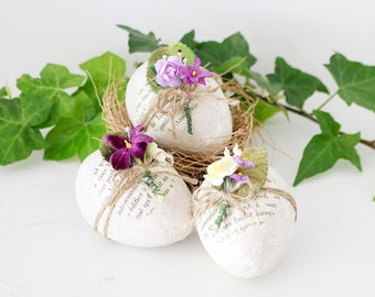 Decorated Floral Eggs, Lavender & Yellow Cottage Spring Decor
