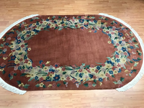 """4'10"""" x 8' Antique Oval Chinese Art Deco Oriental Rug - 1930s - Hand Made - 100% Wool"""