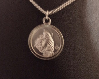 Madonna and Child-Medal-Stainless Steel-20 inch chain-Catholic