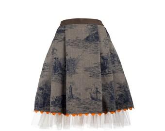 SUZE skirt - printed denim skirt with tulle, folklore inspired skirt (S-XXL)