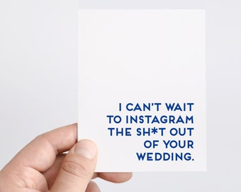 Funny Wedding Card | Instagram | Wedding Hashtag | Funny Engagement Card | Funny Bridal Shower Card | Wedding Shower Card | Social Media