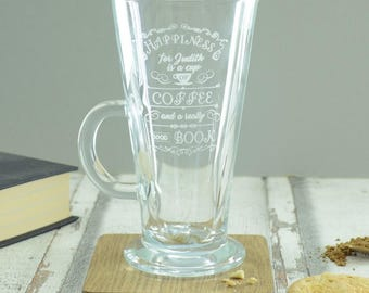 Personalised Coffee And A Book Engraved Latte Glass