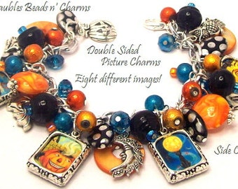 Halloween Charm Bracelet Jewelry Polka Dots, Altered Art Charm Bracelet, Silver Plated, Two Sided Picture Charms