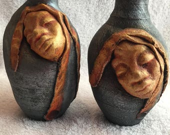 JAMAICAN ART pottery by Artist P MYKOO 2 Vases with Faces