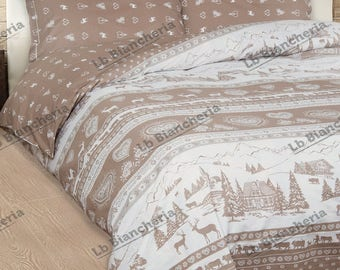 Winter quilt Duvet Val Gardena DOUBLEFACE-Made in Italy-cotton a thick weft-2 squares double bed-Brown