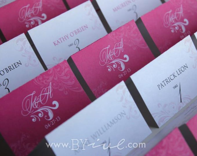 Table numbers and seating place cards. Hot pink theme. Folded Table Number and Escort Cards.