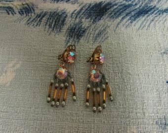 Vintage rhinestone & bugle bead drop clip-on earrings