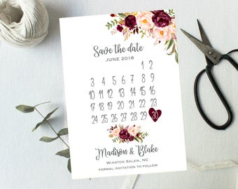 Save The Date, Calender Style Burgundy Blush Pink Floral Watercolor Spring Summer Wedding Boho Digital or Printed Rustic Wedding