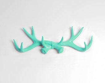 Faux Deer Antler Rack in Turquoise - Resin Faux Antler Hook & Jewelry Organizer- Antler Wall rack by White Faux Taxidermy