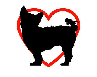 Yorkie Vinyl Decal with Red Heart Background - Multiple Sizes