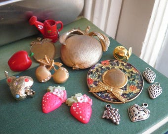 Fruit Berry Gardening Brooch Pin Charm Lot - Vintage & New Destash Brass Gold + Silver Tone Metal Brooches / Pins Instant Jewelry Collection