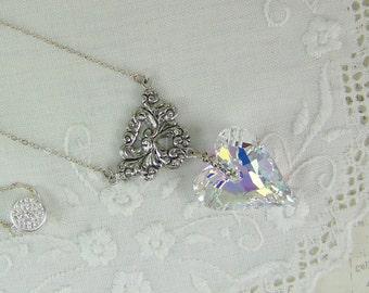 Crystal Heart Necklace, Valentine Necklace, Swarovski AB Crystal Wild Heart, Wedding Necklace, AB Crystal, Heart Necklace, Crystal Heart
