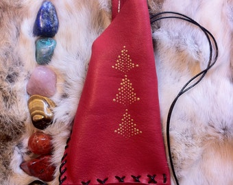 8 Tumbled Stones in Soft Chakra Leather Pouch: Healer's Gold, Extra Quality Lapis Lazuli, Red Tiger Jasper, Gold Tiger Eye, Red Tiger Jasper
