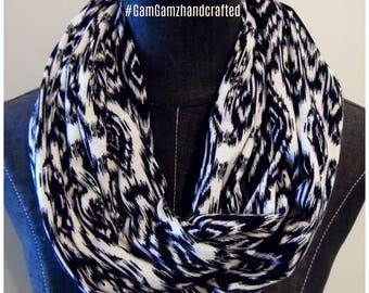 Scarves.Black.White.IKAT Infinity Scarves.Gift for Her.Circle Scarves.Tube Scarves.
