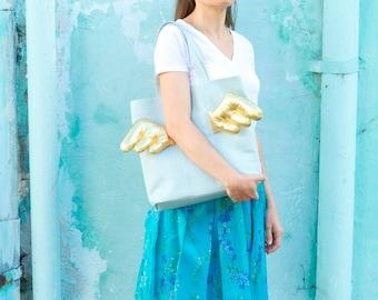 Blue shopper bag, diaper bag, notebook bag, blue fabric bag with golden brocade wings