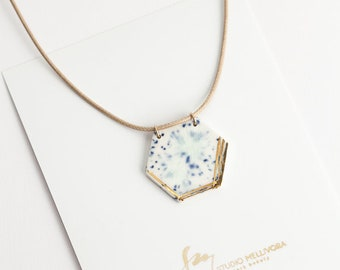 Hexagonal porcelain necklace with gold luster - OOAK | Porcelain jewelry | Everyday jewelry | Abstract | Geometry | Gift for woman| Pendant