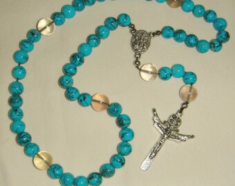 Turquoise Blue Rosary Glass Bead Medieval Style  inv1168
