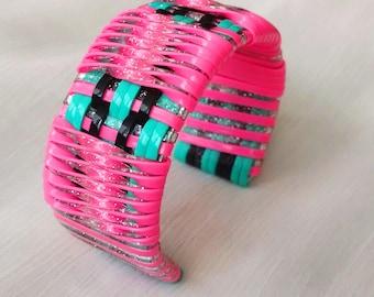Pink and Silver Glitter Twist Cuff