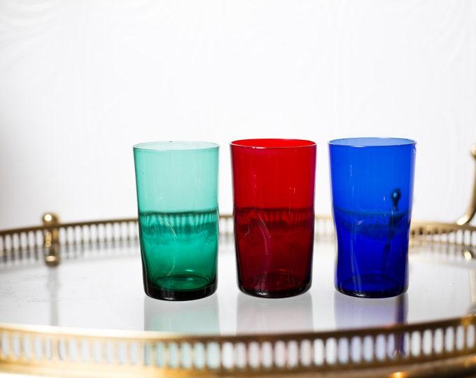 3 Vintage Cocktail Glasses - 8oz Textured RGB Red Green and Blue Tumbler Glasses - Mad Men Retro Barware / Glassware
