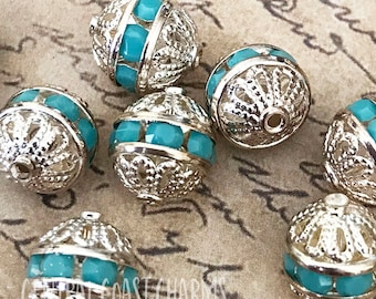 8mm Czech Glass Rhinestone Rondelle Filigree Beads (2) Turquoise Blue Vintage Silver Setting - Shabby Romantic Boho - Central Coast Charms