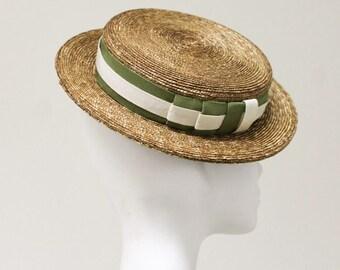 The Tokio Hat -  Flat Top Fascinator - Wedding  Hat w/ Straw & Double Ribbon Detail - Ladies Cocktail Hat