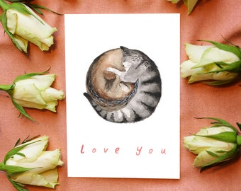 Love Cats / Love you / Greetings Card