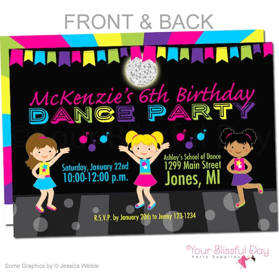 Girl Dance Party Invitations Girl Dance Birthday Invitation
