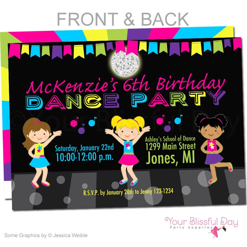 Girl Dance Party Invitations Girl Dance Birthday Invitation