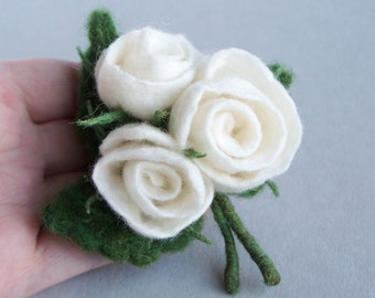 White rose bouquet brooch pin Multicolor green, red, white Bright accessory Elegant Wedding accessory jewelry Flower floral pin