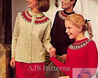 PDF Knitting pattern for Family Nordic Fair Isle Cardigan & Sweater - Instant Download
